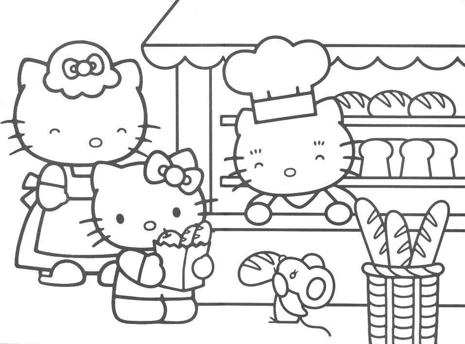 hello kitty downloads coloring pages - Kitty Coloring Pages